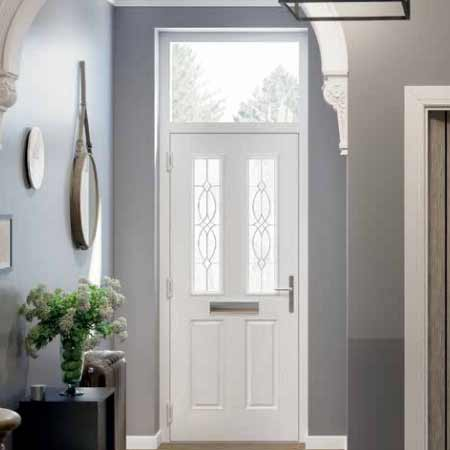 modern grey composite front door with contemporary long bar handle