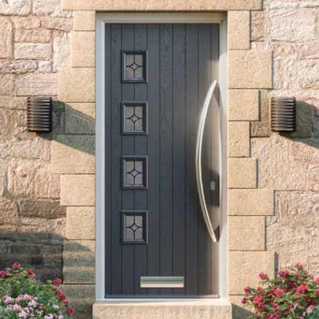 grey composite door with long bow handle