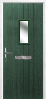 1 Square Composite Front Door in Green