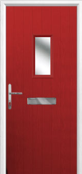 1 Square Composite Front Door in Red