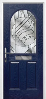 2 Panel 1 Arch Abstract Composite Front Door in Blue