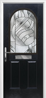 2 Panel 1 Arch Abstract Composite Front Door in Black