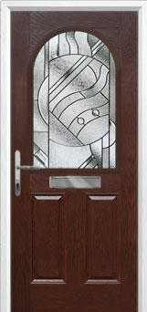 2 Panel 1 Arch Abstract Composite Front Door in Darkwood