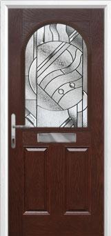 2 Panel 1 Arch Abstract Composite Front Door in Darkwood