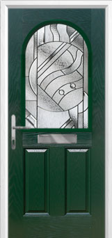 2 Panel 1 Arch Abstract Composite Front Door in Green