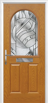 2 Panel 1 Arch Abstract Composite Front Door in Oak