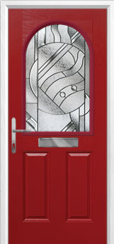2 Panel 1 Arch Abstract Composite Front Door in Red