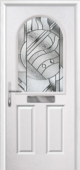 2 Panel 1 Arch Abstract Composite Front Door in White