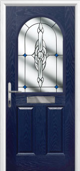 2 Panel 1 Arch Crystal Bohemia Composite Front Door in Blue