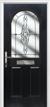 2 Panel 1 Arch Crystal Bohemia Composite Front Door in Black
