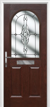 2 Panel 1 Arch Crystal Bohemia Composite Front Door in Darkwood