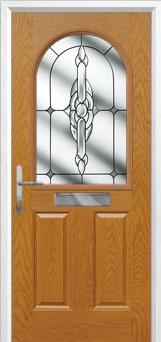 2 Panel 1 Arch Crystal Bohemia Timber Solid Core Door in Oak