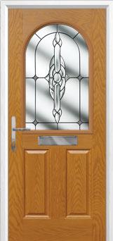 2 Panel 1 Arch Crystal Bohemia Composite Front Door in Oak
