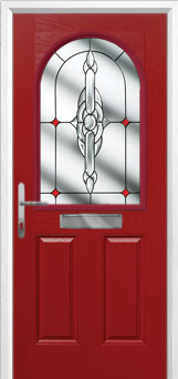 2 Panel 1 Arch Crystal Bohemia Composite Front Door in Red