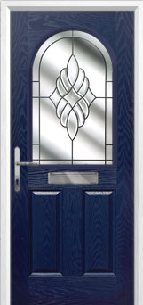 2 Panel 1 Arch Crystal Eternity Composite Front Door in Blue