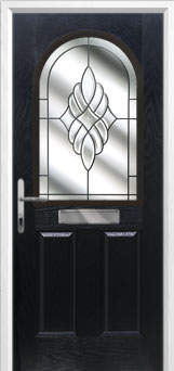 2 Panel 1 Arch Crystal Eternity Composite Front Door in Black