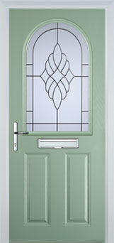 2 Panel 1 Arch Crystal Eternity Timber Solid Core Door in Chartwell Green