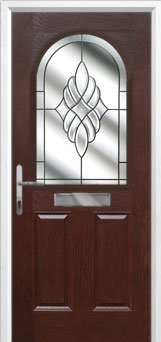 2 Panel 1 Arch Crystal Eternity Composite Front Door in Darkwood