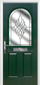 2 Panel 1 Arch Crystal Eternity Composite Front Door in Green