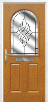 2 Panel 1 Arch Crystal Eternity Composite Front Door in Oak