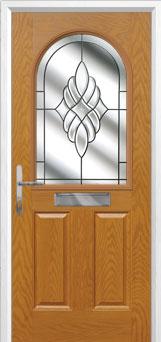 2 Panel 1 Arch Crystal Eternity Composite Front Door in Oak