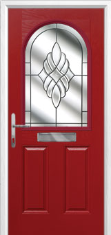 2 Panel 1 Arch Crystal Eternity Composite Front Door in Red