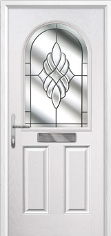 2 Panel 1 Arch Crystal Eternity Composite Front Door in White