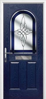 2 Panel 1 Arch Crystal Harmony Composite Front Door in Blue