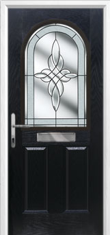 2 Panel 1 Arch Crystal Harmony Composite Front Door in Black