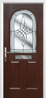2 Panel 1 Arch Crystal Harmony Composite Front Door in Darkwood