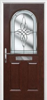 2 Panel 1 Arch Crystal Harmony Composite Front Door in Darkwood
