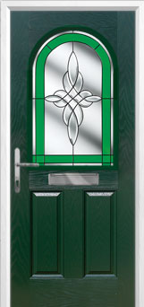2 Panel 1 Arch Crystal Harmony Timber Solid Core Door in Green