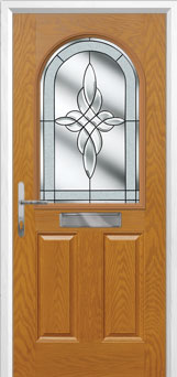 2 Panel 1 Arch Crystal Harmony Composite Front Door in Oak