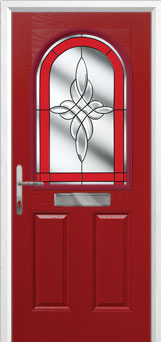 2 Panel 1 Arch Crystal Harmony Composite Front Door in Red