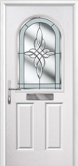 2 Panel 1 Arch Crystal Harmony Composite Front Door in White