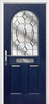 2 Panel 1 Arch Brass Art Clarity Composite Front Door in Blue