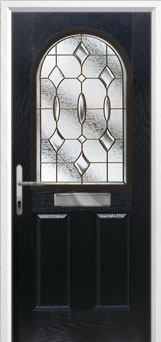 2 Panel 1 Arch Brass Art Clarity Composite Front Door in Black