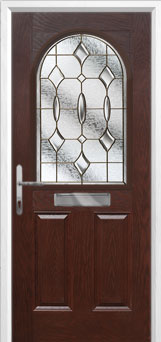 2 Panel 1 Arch Brass Art Clarity Composite Front Door in Darkwood