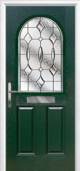 2 Panel 1 Arch Brass Art Clarity Composite Front Door in Green