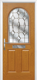 2 Panel 1 Arch Brass Art Clarity Composite Front Door in Oak
