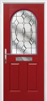 2 Panel 1 Arch Brass Art Clarity Composite Front Door in Red