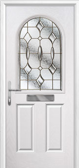 2 Panel 1 Arch Brass Art Clarity Composite Front Door in White
