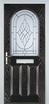 2 Panel 1 Arch Elegance Timber Solid Core Door in Black Brown