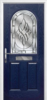 2 Panel 1 Arch Elegance Composite Front Door in Blue