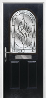 2 Panel 1 Arch Elegance Composite Front Door in Black