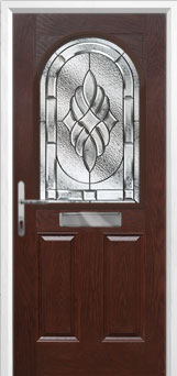 2 Panel 1 Arch Elegance Composite Front Door in Darkwood