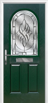 2 Panel 1 Arch Elegance Composite Front Door in Green