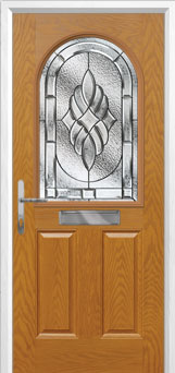 2 Panel 1 Arch Elegance Composite Front Door in Oak