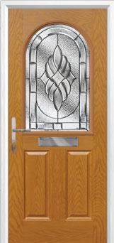 2 Panel 1 Arch Elegance Composite Front Door in Oak