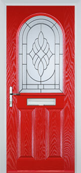 2 Panel 1 Arch Elegance Timber Solid Core Door in Poppy Red